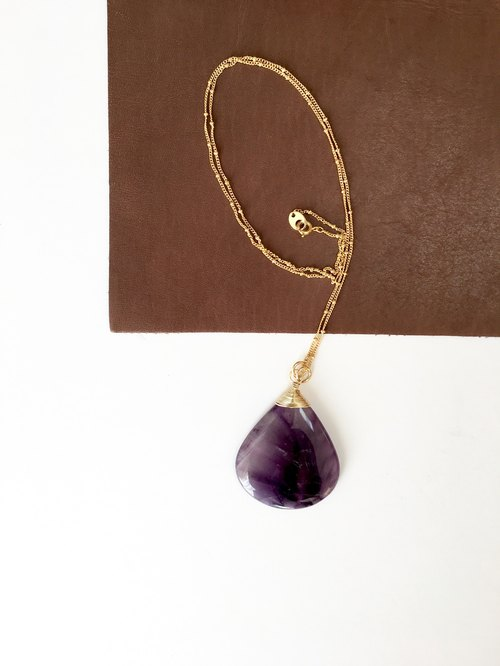 Amethyst Necklace brass chain