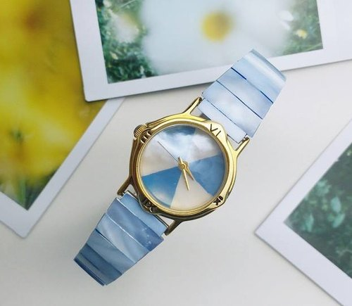 【Lost And Find】Colorful Natural mother of pearl watch - Candy Blue
