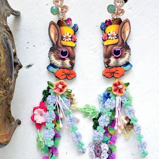 TIMBEE LO Party Rabbit Wooden Earrings Stereo Eyes Wood Chip Laser Cutting Making Colorful Bead Lace Flow