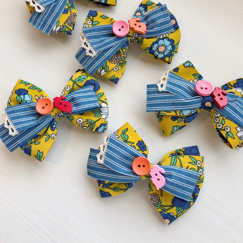 Children Kids Hairpin Bunny Play Ball Wood Buckle Stripe Denim Lace Flower Cloth