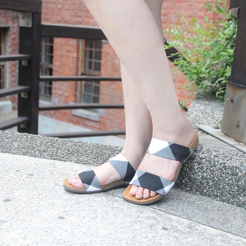【Double Band   Preppy】Double Band Lycra Sandals/ Leather insole
