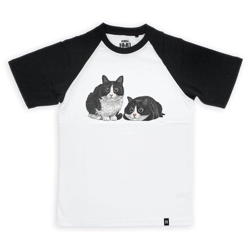 AMO®Original canned cotton T-shirt/AKE/Twin Cats With Big Eyes