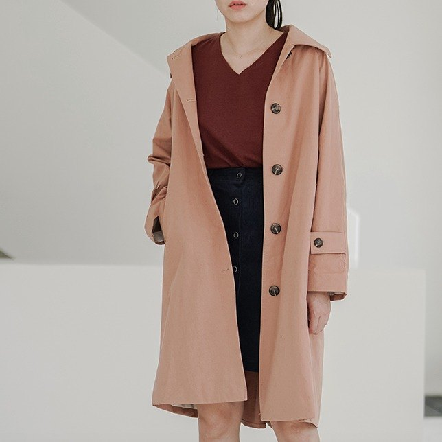 Red brick color wrinkle cotton in the long section of the wide-sleeved boyfriend neutral windbreaker lapel single-breasted trench coat If no one likes this windbreaker I really cry | vitatha Fan Tata original design independent women's brand
