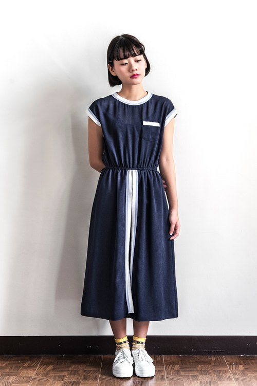 Vintage Navy Striped Dress