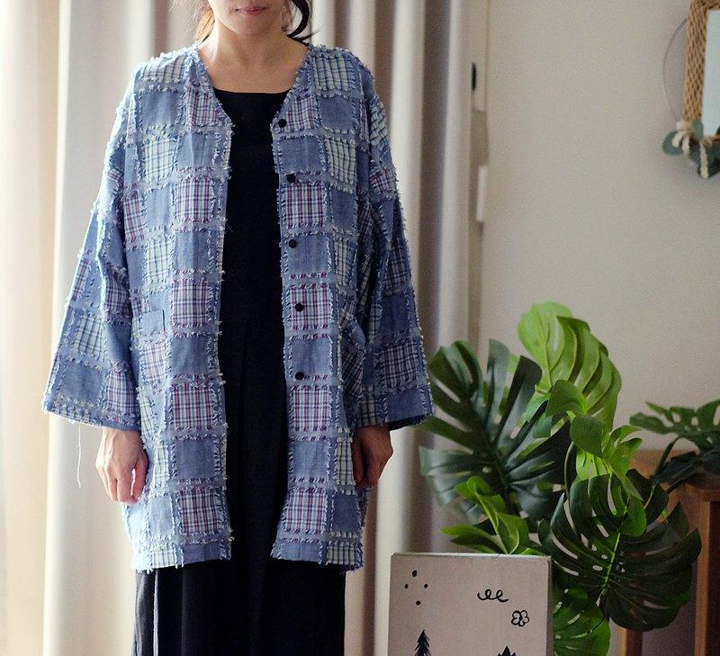 抽鬚格紋日式中版V領襯衫