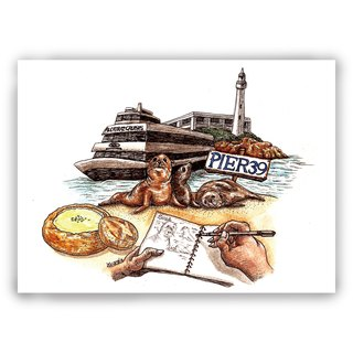 Hand-painted illustrations Multipoint Card / Card / Postcard / Illustration Card - American San Francisco Fisherman's Wharf Seal Sea Lion Oyster Sass Sketch Sketch Book Ferry Alcatraz Island