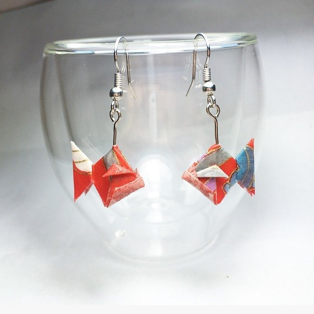 Origami Gold Fish Earrings (Or Ear Clips)_Page 2 (Total 3 Pages for choose)