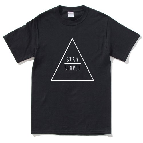 STAY SIMPLE Triangle short-sleeved T-shirt black simple to maintain geometric triangle design their own brand trendy circle Youth Hipster