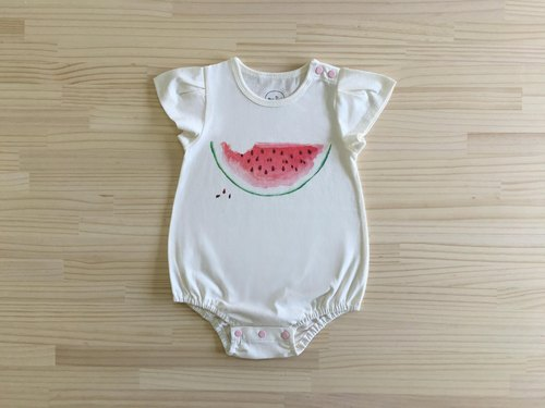Gujui love watermelon _ organic cotton fart clothing / jumpsuit / bubble pants _ white