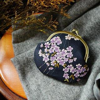 Romantic and handle purple weeping cherry gold bag
