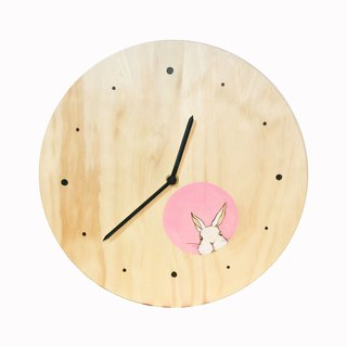 Mr. White Rabbit in the hole in the log clock
