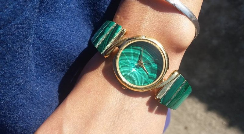 【Lost And Find】Natural Malachite watch