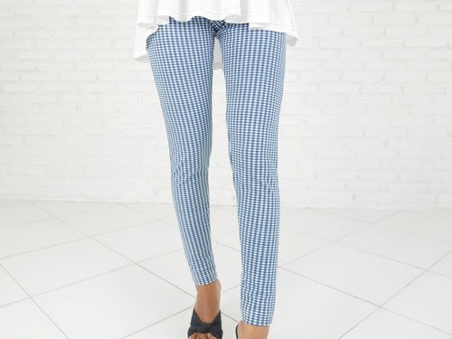 Check Pattern Stretch Leggings Long Pants <Blue>