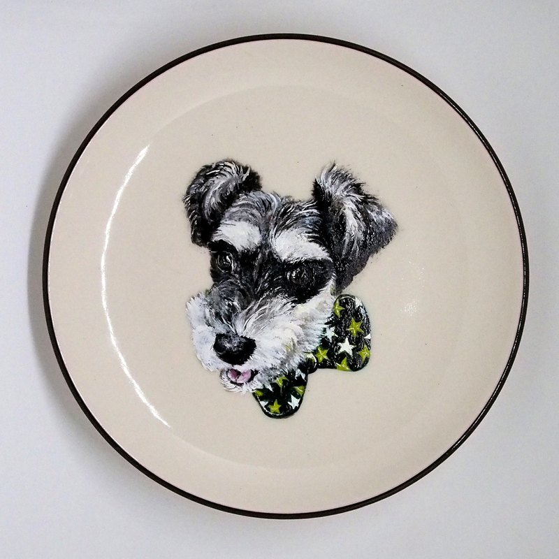 Wall-mounted decorative tray / snack tray series - handsome gentleman Schnauzer