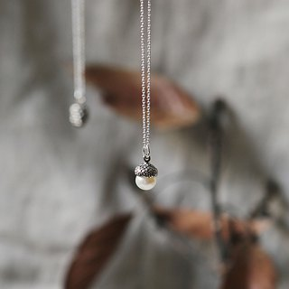 Petite Fille Women's Unfinished Silver Life Love's Acorn Solid Pearl Silver Necklace