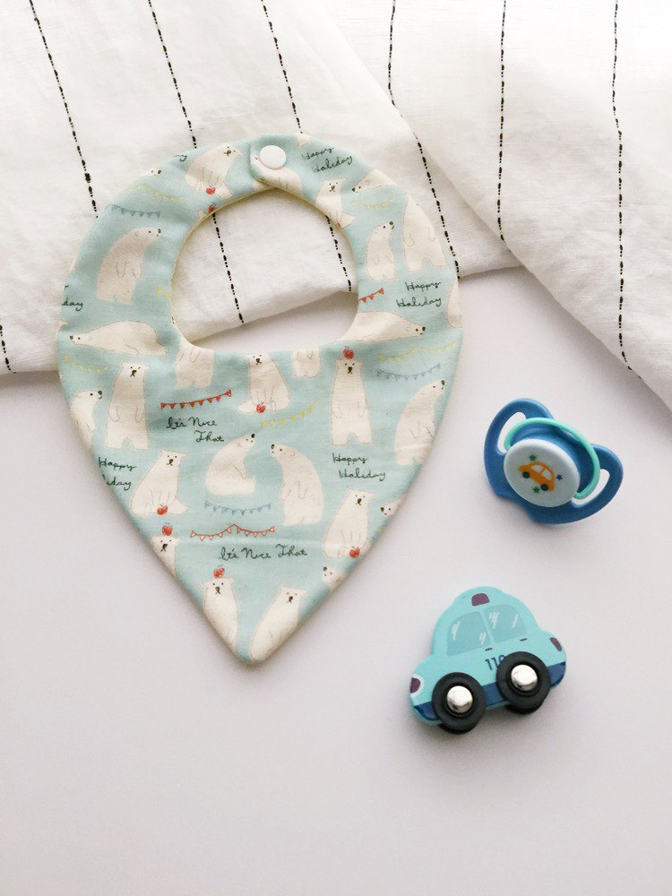 Hairmo boy's polar bear handmade bib / saliva towel - water blue (neck towel type)