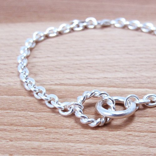 Curly twist 925 sterling silver bracelet (men)
