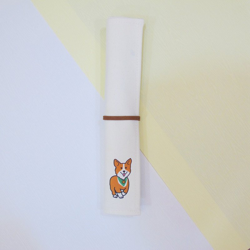 Canvas eco-friendly tableware storage set-with chopsticks and spoon-Corgi with green scarf
