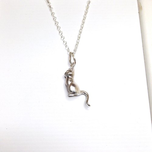 Silver Sitting Cat Necklace Jewelry Cat Loss Memorial Cat Lover Birthday Gift