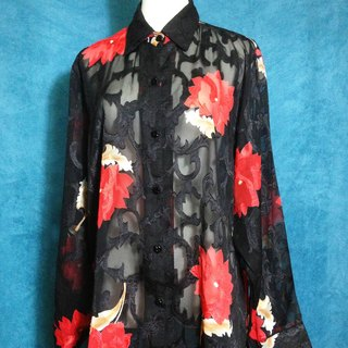 When vintage [antique shirt / three-dimensional textured antique flowers shirt] overseas back to high texture