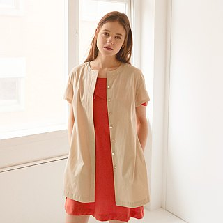 Round neck pocket long shirt