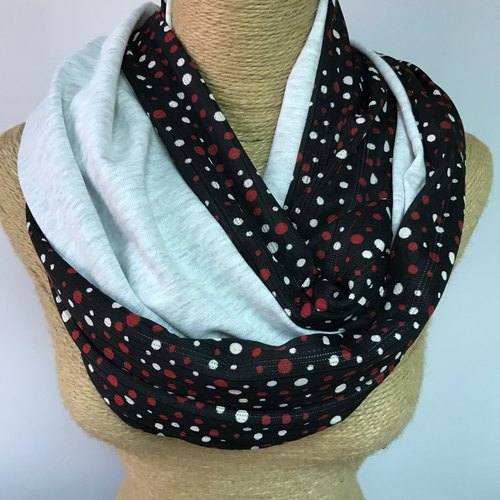 Double-sided cotton circle scarves / neck Wai Circle / Infinity Scarf (black + red and white little gray 206softgrey) / Christmas scarves