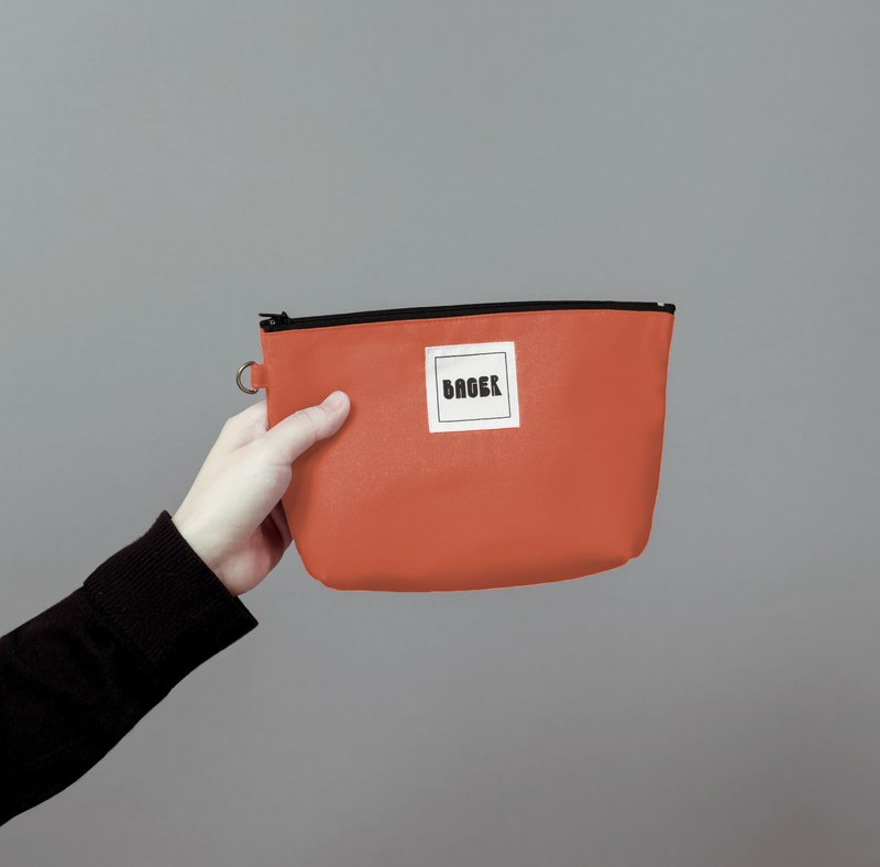 Bager Simple Plain Zipper Multi-Purpose Bag / Coral Tangerine