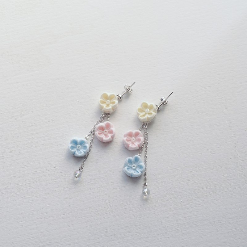 Adorable Fabric Flowers Drop Earrings Clip-on 14KGF, S925 custom