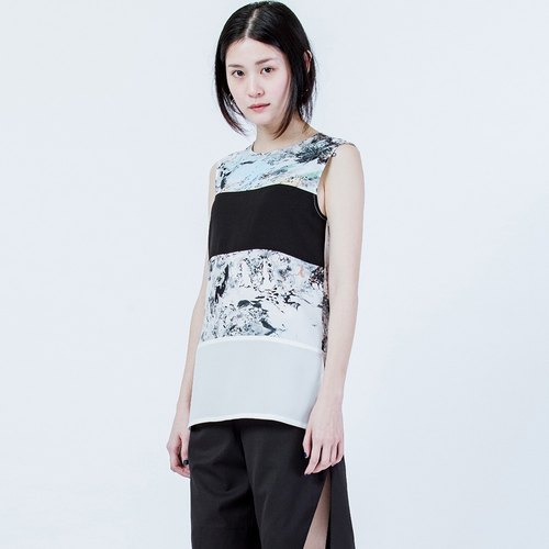 橫條剪接印花背心 Stripe Cutting Print Vest