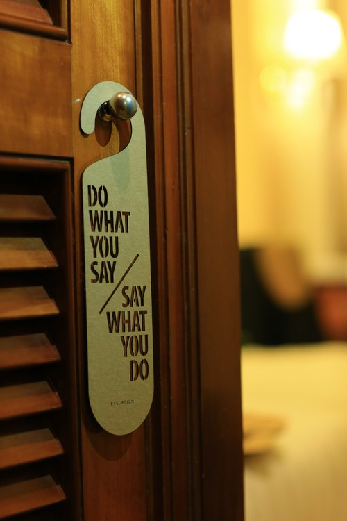 "See the design eyeDesign a word door hanging ""DO WHAT YOU SAY SAY WHAT YOU DO"" D36"
