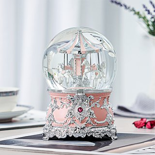 Pink Pleasure Horse Crystal Ball Music Box Birthday Gift Valentine's Day Gift Sky City