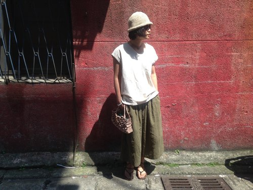 Peter washed cotton width is not wide pants _ Olive