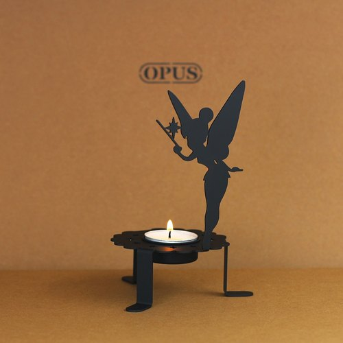 【OPUS Metalart】Light of Spirit - Flower Fairy Candle Holder (Black) / Home Office Shops / Wedding & Desktop Ornaments Arrangements / Small Candlestick / Candle Holder / Birthday Gifts / Photo Shoo Props Properties KL-ca06 (B)