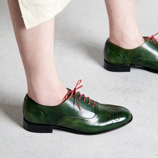 H THREE Oxford shoes / conifer green / flat / Oxford