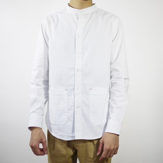 Band Collar White Shirt/plain/couple/clothing