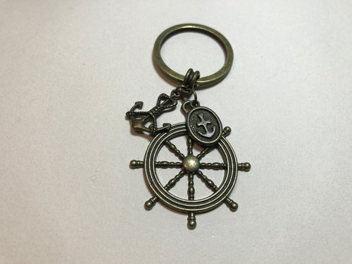 - Future routes - Bronze amulet anchor helm nautical key ring strap couple accessories