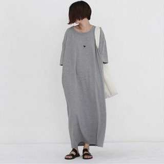 Gray classic dolls flagship version play big pockets slim loose cotton super Dalian dress dress