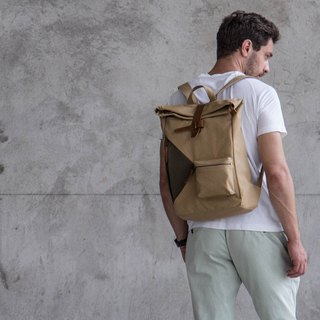 Water Resistant Fold top backpack in canvas and leather Khaki