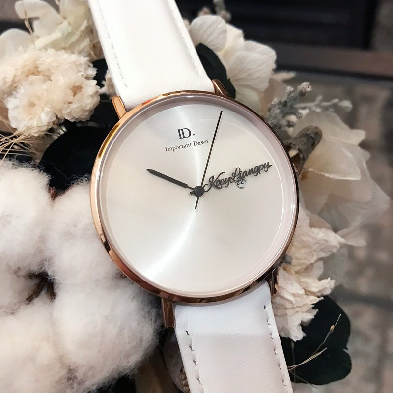 Customized Name Pointer Watch - 41MM Sun Grain White Leather Large Watch