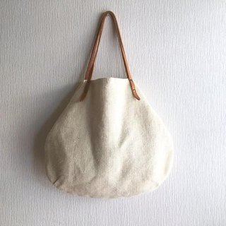 Jute (100% linen) and round tote bag of extreme thickness oil nude [Off White]