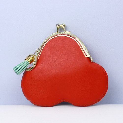 Leather purse all purpose for coin card and money notes red color