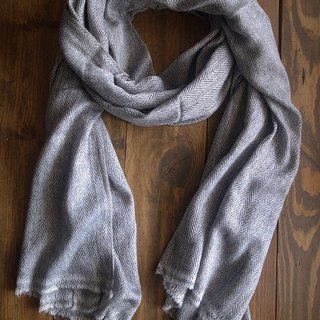 Cashmere Stripes Shawl / Scarf / Stole Handmade from Nepal_Grey