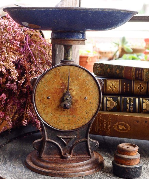 British antique Salter's brass cast iron upright scale J