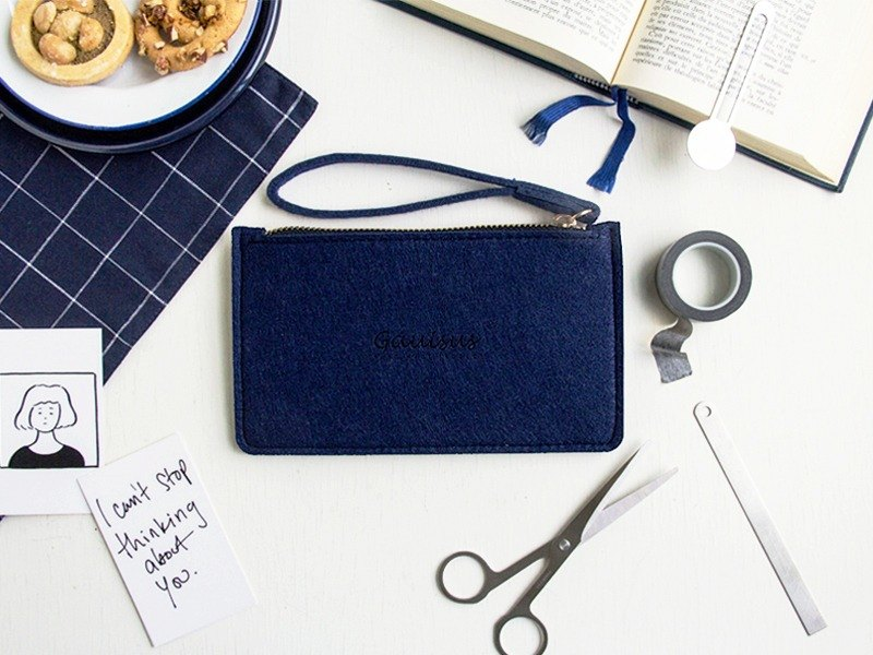 Leyang, wool felt / mobile phone storage bag - ochre blue (small models / 4.7 吋 mobile phone / iPhone7 / 8)
