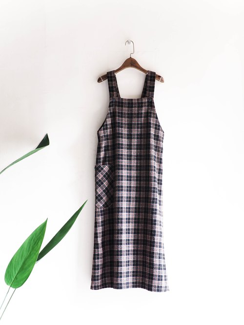 Rivers and mountains - Yamagata classic Plaid youth winter sheepskin antique suspenders dress vest skirt thin pounds neutral Japan overalls oversize vintage