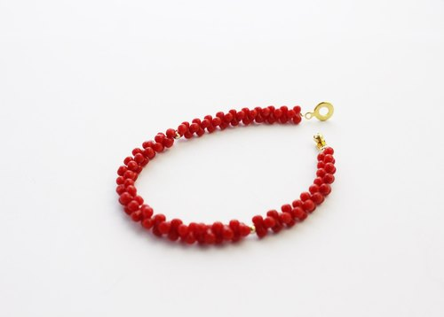 108 perles blurred / 8 word red coral bracelet 6mm