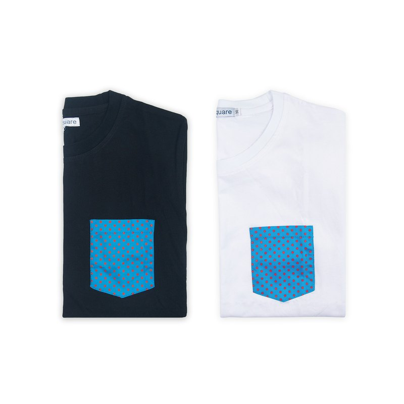 Dosquare - Cotton White T-shirt with polka dotted pocket