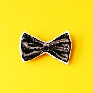 Mini hand embroidered brooch / pin black bow tie