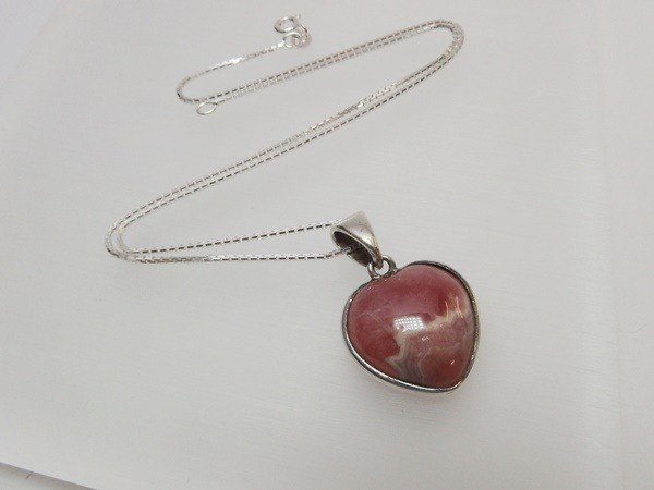 Rhodochrosite Heart Pendant sold exclusively in Hong Kong