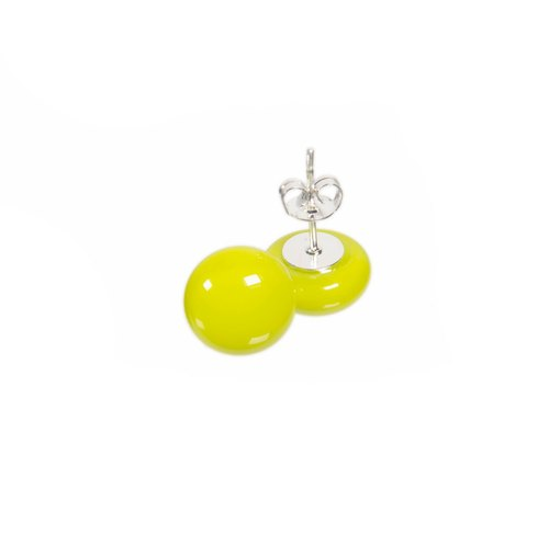 Handmade glass earrings in lemongrass colour